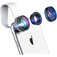 Mpow Universal 3 en 1 Kit d'Objectifs Professionnel Fisheye à 180° + 0.65X Objectif Grand Angle + 10X Objectif Micro pour iPhone, Samsung Galaxy Series, Huawei, Wiko et Plupart des Smartphones