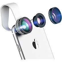 Mpow Lente para Movil Ojo de Pez 3 en 1 Supremo de 180 Grados (Más 0.65X Ángulo Amplio Más 10X Lente Marco con Pinza Acolchada para iPhone 7/7plus 6s/6splus 6/6plus y Android Smartphone)