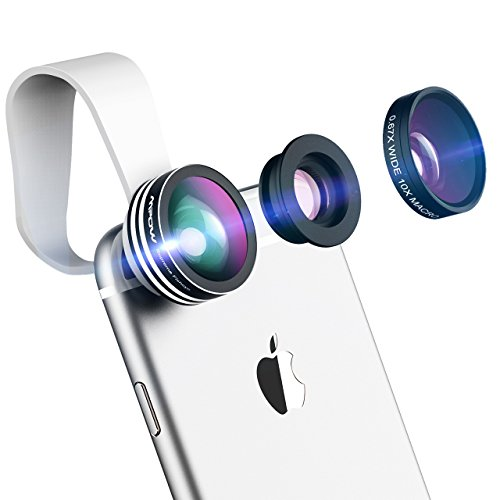 Mpow Universal 3 en 1 Kit d'Objectifs Professionnel Fisheye à 180° + 0.65X Objectif Grand Angle + 10X Objectif Micro pour l'iPhoneSeries, GalaxySeries, Huawei, Wiko et Plupart des Smartphones