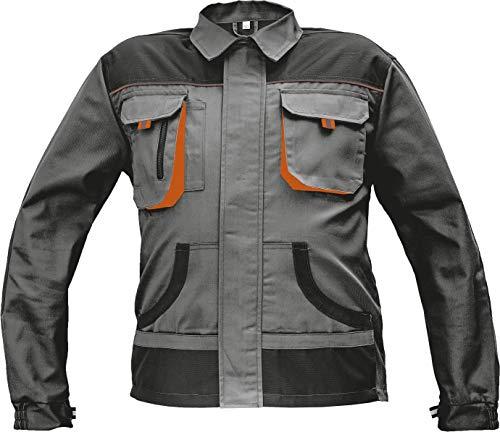 Stenso Des-Emerton® - Chaqueta de Trabajo Multiusos para Hombre - Codos Reforzados - Gris/Negro/Naranja - 58