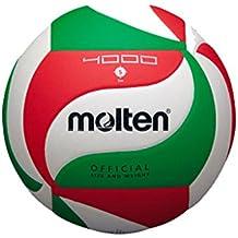 Balón Molten V5M4000 - Balón de voleibol, color blanco / verde / rojo, tamaño 5