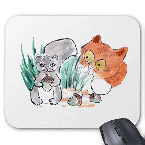 Mousepad Anti-Rutsch-Gummi Gaming Mauspad Rechteck Mauspad für Computer Laptop Eichhörnchen und EIN neugieriger Tiger Kätzchen Mauspad -