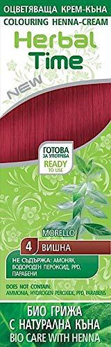 Henna Natural Colorante en Crema, Color Rojo Guinda 4, Sin Amoniaco, Sin Sulfatos, Sin Parabenos