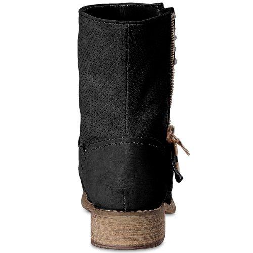 CASPAR - Bottines Biker pour femme - bottes avec strass - 3 coloris - SBO026 Noir