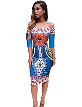 FAMILIZO Mujeres africana tradicional de impresión de Dashiki bodycon atractivo mitad de vestir de manga