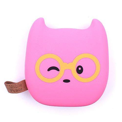iprotect Emoji - Powerbank 4500 mAh Externes Ladegerät im bebrillte Rosa Katze Design für Smartphones und andere Geräte mit USB-Anschluss - inklusive Micro USB-Ladekabel