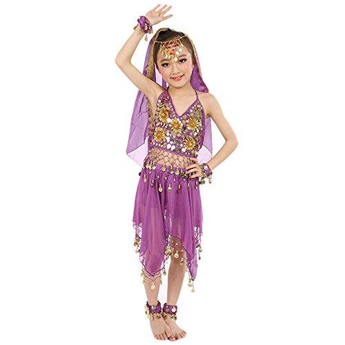 Amphia - Bauchtanz-Set für Mädchen-Indianertanz (ohne Schleier und Zubehör) - Handgemachte Kinder Mädchen Bauchtanz Kostüme Kinder Bauchtanz Ägypten Tanz Tuch (Professionelle Tanz Kostüm Kinder)