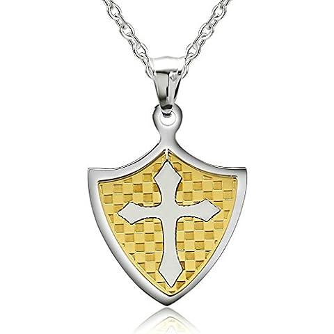 Bishilin Schmuck Edelstahl Halskett mit Anhänger für Paar Ritter Schild Kreuz Kette Gold (Ritterschild Kostüm)