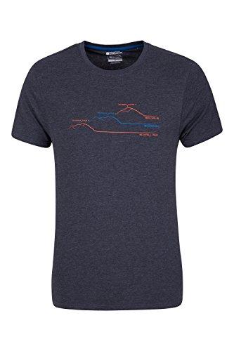 Mountain Warehouse Herren Baumwolle Rundhals Ausschnitt Kurzarm T-Shirt Gedruckt 3 Peaks Freizeit Sportlich Alltag Camping Urlaub Kohle XX-Large (Xx-large Mountain T-shirt)