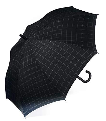 ESPRIT Regenschirme Gents Long AC Regenschirm check black (Black Bekleidung Check)