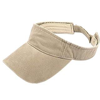 ACVIP Men Women Washed Cotton Visor Sun Cap Summer Sport Running Golf Topless Hat (Khaki)