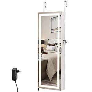 SONGMICS Schmuckschrank hängend, Wandschrank mit Lichtumrandung, Spiegelschrank mit Außenbeleuchtung, Ganzkörperspiegel, Geschenk, Wandmontage, an der Tür hängend, dimmbar, weiß JBC66NL