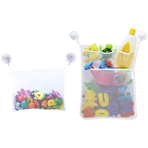 Einsgut Badezimmer Ablagenetz Baby Badespielzeug Storage Mesh Tasche waschbar Shampoo Dusche Net Organizer mit 3 Saugnäpfe