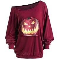 juqilu Frauen sexy Pullover 3D Sweatshirt Herbst Langarm Shirt Schulter Halloween wütend Kürbis Print T-Shirt S-2XL