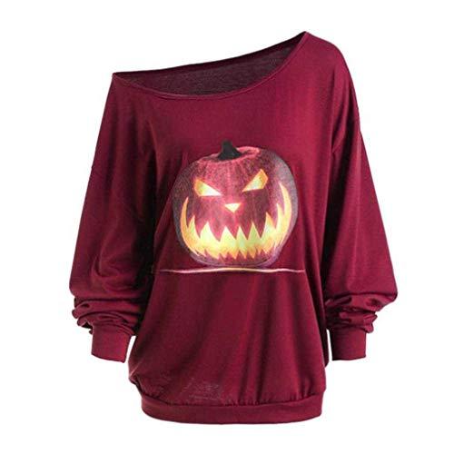 Frauen sexy Pullover 3D Sweatshirt Herbst Langarm Shirt Schulter Halloween wütend Kürbis Print T-Shirt Weinrot 2XL