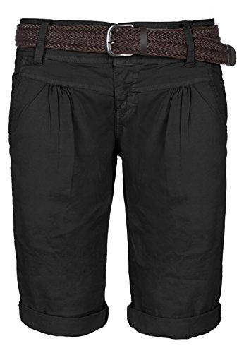 Fresh Made Sommer-Hose Bermuda-Shorts für Frauen | kurze Chino-Hose mit Flecht-Gürtel | Basic Shorts aus Baum-Wolle black M