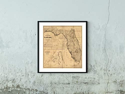 New York Map Company LLC 1846 Landkarte des Staates von Florida Historische Vintage-Antik-Wandkarte, 56 x 61 cm, fertig zum Einrahmen
