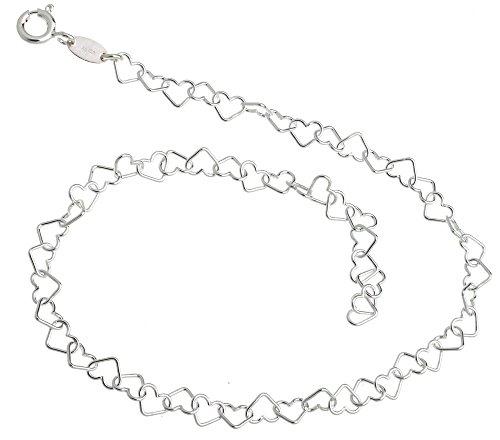 Fußkette Herzen - Länge wählbar 23-30cm - echt 925 Silber