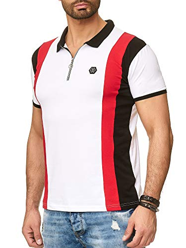 Redbridge Herren Kurzarm T-Shirt Streifen Look Casual Poloshirt Stretch Shirts