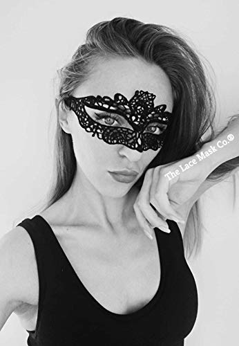 Venetian Royal Black Lace Mask for Masquerade Prom Halloween Carnival Mask Ball (Lace Black Masken Masquerade)