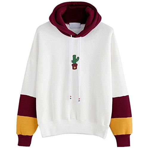 Pull Femmes Angelof Sweat-Shirt Femme Manches Longues Cactus Imprimer Sweat à Capuche Pull Capuche Tops Blouse (M, Vin)