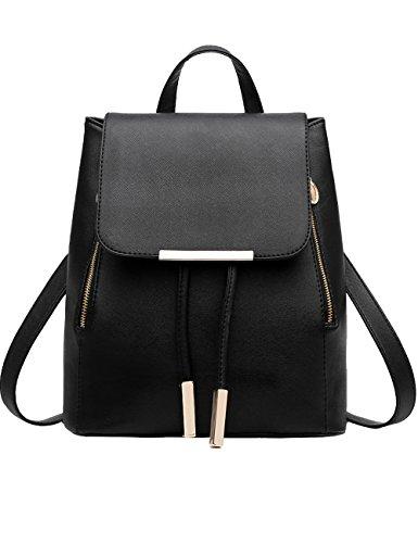 Menschwear PU Zaino Satchel Daypack sacchetto di scuola Nero 2 Nero