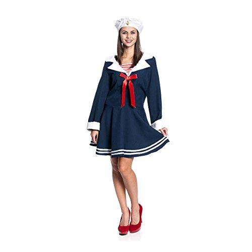Kostümplanet® Matrosin-Kostüm Damen Kostüm sexy Matrosen-Kostüm mit Matrosen-Mütze Größe (Damen Sexy Matrose Kostüm)