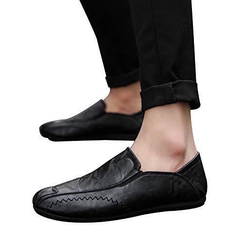 Moika uomini colore solido rotondo toe cucito flat tacco superficiale scarpe in pelle (250/41, nero)