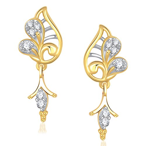 VK Jewels Sparkle Leaf Gold And Rhodium Plated Alloy Earrings for Women & Girls made with Cubic Zirconia -ER1219G [VKER1219G]  available at amazon for Rs.225