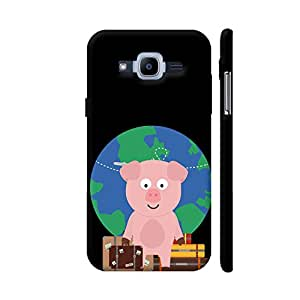 Colorpur Globetrotter Travel Pig with Suitcases Printed Back Case Cover for Samsung J2 Pro