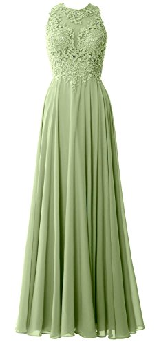 MACloth Elegant High Neck Long Prom Dress Lace Chiffon Formal Party Evening Gown clover