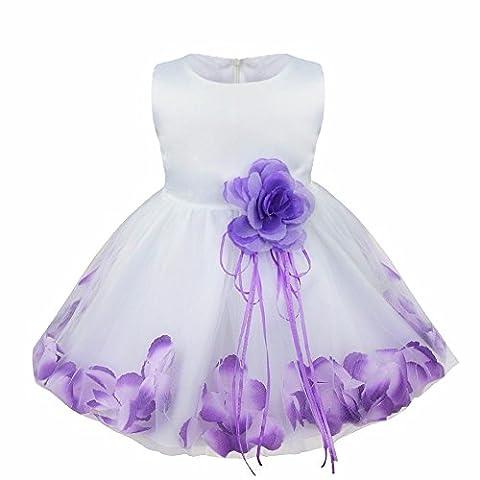 iEFiEL Girl Flower Petals Dress Formal Wedding Bridesmaid Party Christening Princess Dresses Dark Purple Baby 12-18