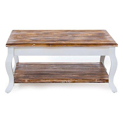 Pureday miaVILLA Couchtisch Country - Tisch im Landhausstil - Holz - Weiß Natur - ca. 80 x 80 cm
