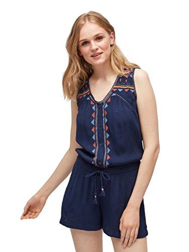 TOM TAILOR Denim für Frauen Overalls & Jumpsuits Kurzer Jumpsuit mit Stickerei Deep Twilight Blue, L