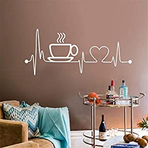 Anmain Tazza Caffè Sticker Da Muro Bar Adesivi Murali Cucina Adesivi Parete Semplice Adesivi Pareti Amore Stickers Muro Adesivi Murali Cucina Wall Stickers Creativi Sticker Decorativi Murales Muraglia