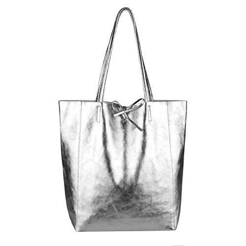 OBC Made in Italy Damen Leder Tasche Din-A4 Shopper Schultertasche Henkeltasche Tote Bag Metallic Handtasche Umhängetasche Beuteltasche (Silber 36x40x12 cm) -