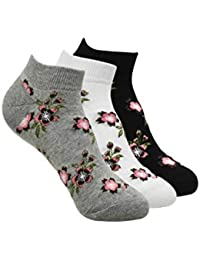 Balenzia Women's Floral Design Low Cut Socks- Blakc, White, L.Grey
