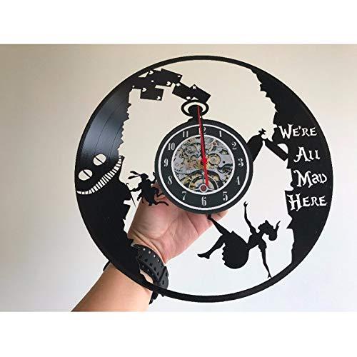 LLLYZZ Alice In Wonderland Vinyluhr, Verrückte Uhr Arabische Uhr/Zahlen/Laser Vinyl