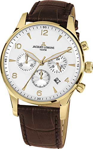 JACQUES LEMANS Herrenuhr London  Lederarmband massiv Edelstahl ip-gold  Chronograph 1-1654ZD