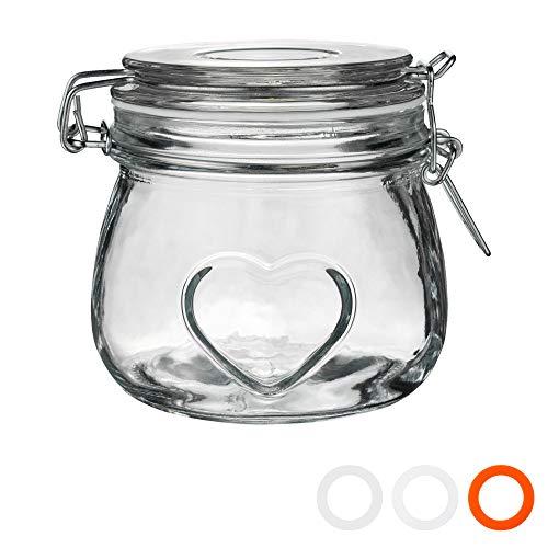 Nicola Spring Herz Glas Lager Aufbewahrung Dose (500ml)