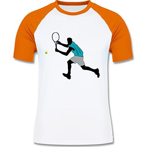 Tennis - Tennis Squash Rückhand - zweifarbiges Baseballshirt für Männer Weiß/Orange