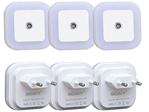 [neue Version] SOAIY 6 Stück LED Nachtlicht 0,2W energiesparend Steckdosenlicht mit Dämmerungssensor automatisch Orientierungslicht Helligkeitsensor Leuchte 5000K