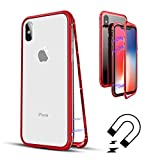 QLTYPRI Case for iPhone X, Luxury Slim Metal Aluminum Bumper Frame Case Transparent Ultra Slim Magnetic Adsorption Armor Case Shockproof 9H Tempered Glass Back Flip Cover for iPhone X - Clear Red