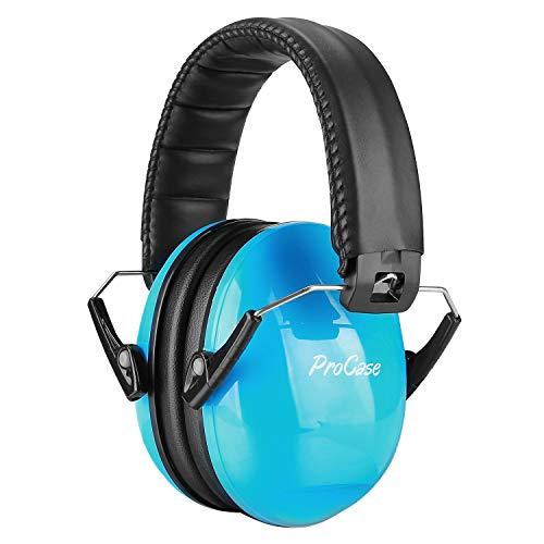 ProCase Casque Anti Bruit Enfant, Casque Pliable Réglable Confortable, avec Une Atténuation de 27dB, Serre-tête Souple pour Milieu Bruyant ou Stressant-Noir et Bleu