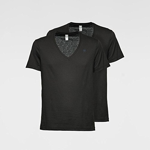 G-STAR Herren T-Shirt V Heather 2er Pack Schwarz (solid black 2019)