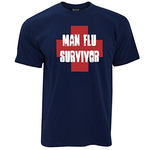 Man Grippe Survivour Herren T-Shirt Navy Blue