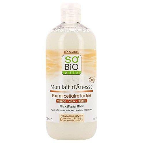 SO' BIO ETIC - Mon Lait d'Ânesse - Eau micellaire - Au lait d'ânesse - Douceur - Hydratant et apaisant - 99% naturel - Nettoyage parfait - Nourrissant - 500 ml