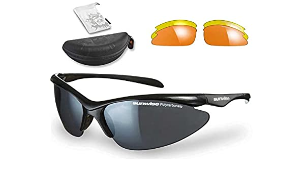 dd2294795a0 Sunwise Thirst JUNIOR Interchangeable Sunglasses (Black) + FREE Hard Case   Amazon.co.uk  Sports   Outdoors