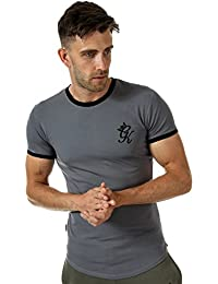 a73ea44d3b5 Gym King Mens Ringer T-Shirt in Dark Grey Black