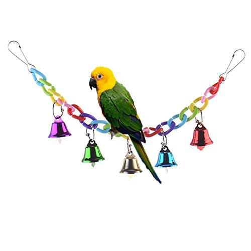 Colourful Climbing Swing Toy with Bells for Bird Parrot African Grey Macaw Budgie Parakeet Cockatiel Cockatoo Conure Lovebird Finch Cage Perch